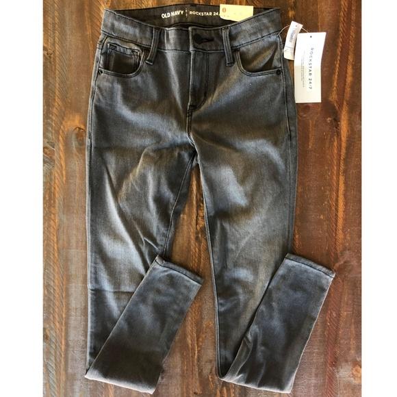 Old Navy Denim - *2/$15*  Mid-Rise Gray-Wash Rockstar Super Skinny